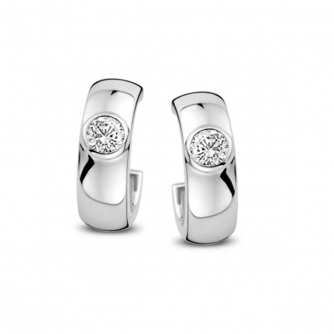 Boucles d'oreilles en argent serties de zirconium Naiomy Silver Silver - Femme - Alizée - N1E53
