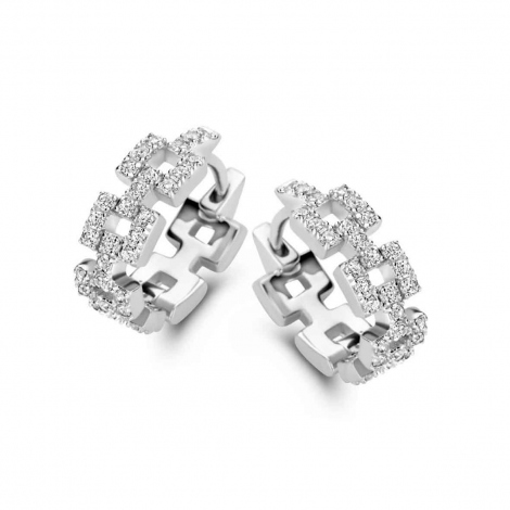 Boucles d'oreilles en argent serties de zirconium Naiomy Silver Silver - Femme - Élisabeth - N1I53