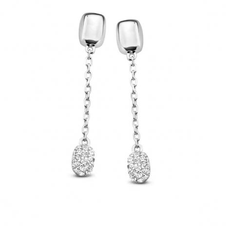 Boucles d'oreilles en argent serties de zirconium Naiomy Silver Silver - Femme - Iotua - N1D53