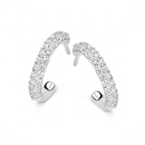 Boucles d'oreilles en argent serties de zirconium Naiomy Silver Silver - Femme - Kiwako - N0A53
