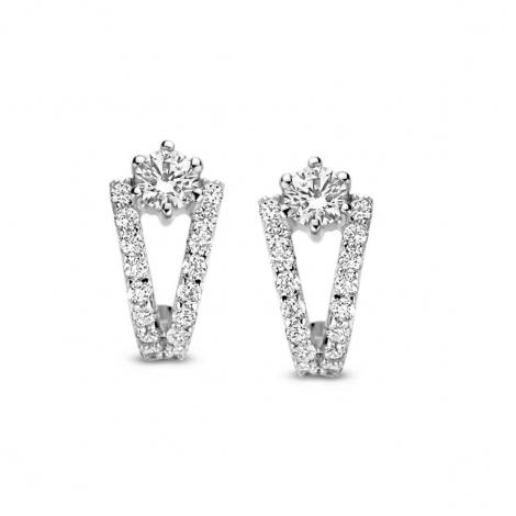 Boucles d'oreilles en argent serties de zirconium Naiomy Silver Silver - Femme - Lise - N1F56