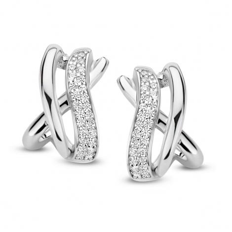Boucles d'oreilles en argent serties de zirconium Naiomy Silver Silver - Femme - Lorelei - N1C53