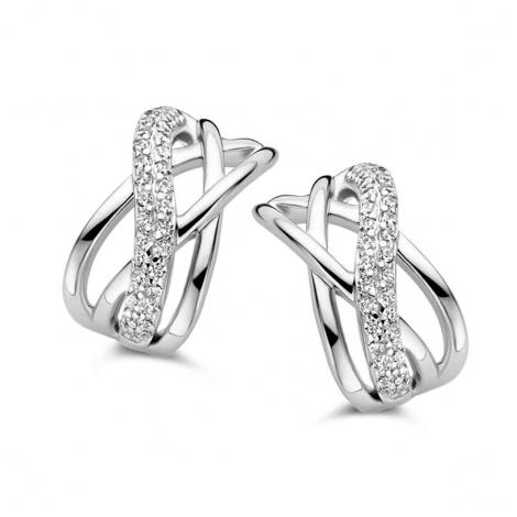Boucles d'oreilles en argent serties de zirconium Naiomy Silver Silver - Femme - Lucia - N0A70