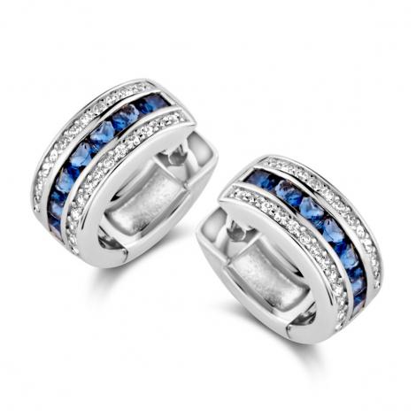 Boucles d'oreilles  en argent serties de zirconium+ saphir synthétique Naiomy Silver  Silver - Femme - Alixe - N1B53