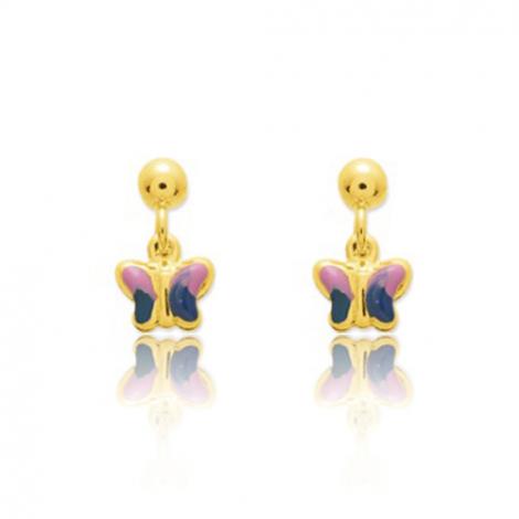 Boucles d'oreilles Papillon Or Jaune Alice - 650043