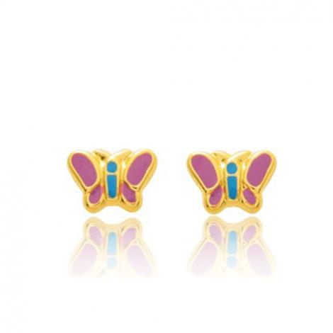 Boucles d'oreilles Papillon Or Jaune Marine - 650094