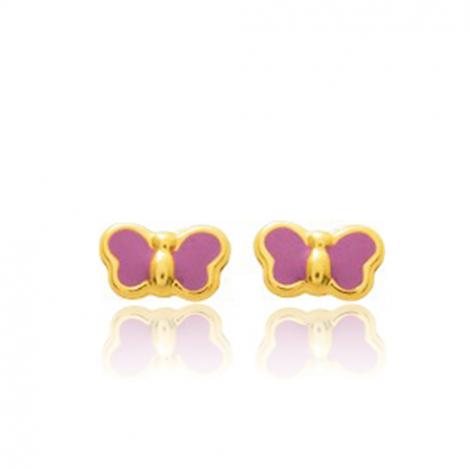 Boucles d'oreilles Papillon Or Jaune Ocella - 650093
