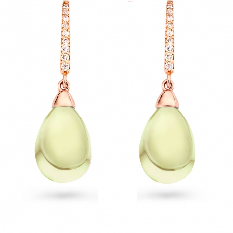 Boucles d'oreilles Prasiolite et diamants One More - Pantelleria 051610YA