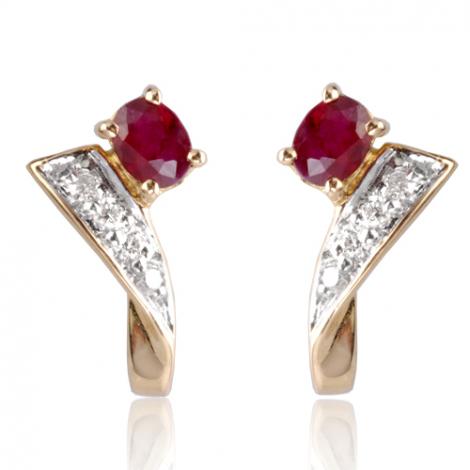 Boucles d'oreilles rubis diamant Alexa - BO01334RU