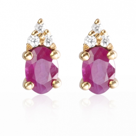 Boucles d'oreilles rubis diamant Aliya - BO0689-RU