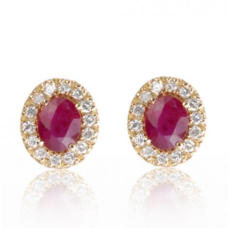 Boucles d'oreilles rubis diamant Anastasia - BO01463-R