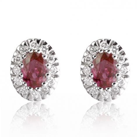 Boucles d'oreilles rubis diamant Leina - BO01367RU
