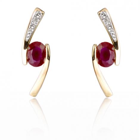 Boucles d'oreilles rubis diamant Merveille - BO01397RU