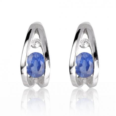 Boucles d'oreilles saphir diamant Or Blanc Alexia - BO0835-S