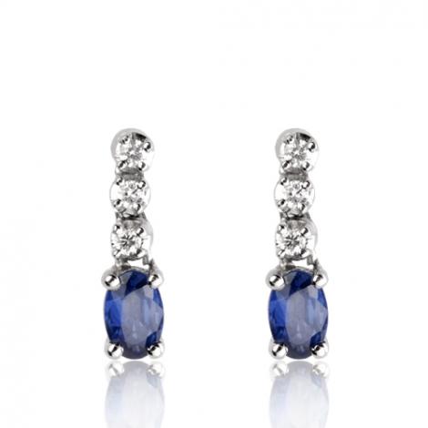 Boucles d'oreilles saphir diamant Or Blanc Amélia - BO1151-SA