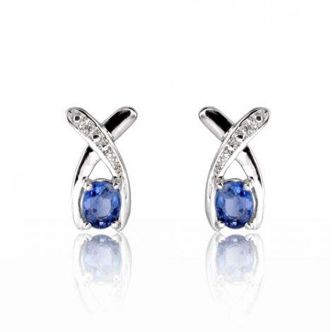 Boucles d'oreilles saphir diamant Or Blanc Anastasia - BO01399SA