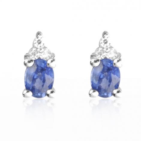 Boucles d'oreilles saphir diamant Or Blanc Asha - BO0687-SA
