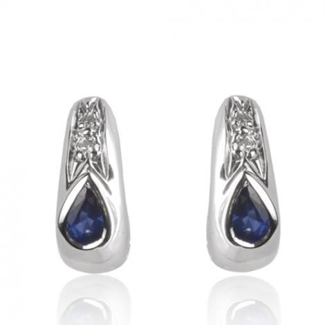 Boucles d'oreilles saphir diamant Or Blanc Cynthia - BO01426SA