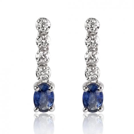 Boucles d'oreilles saphir diamant Or Blanc Dalia - BO1146-SA