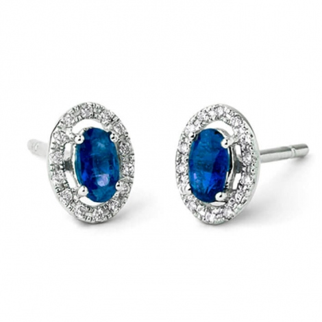 Boucles d'oreilles saphir diamant Or Blanc  - E5197FMPWAY0L