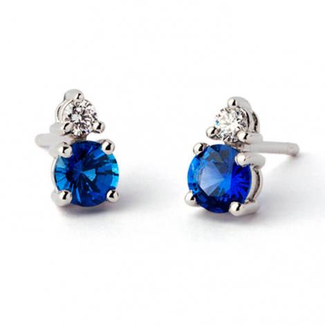 Boucles d'oreilles saphir diamant Or Blanc  - E5964FMPWAY0L
