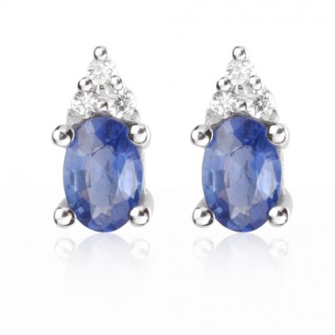 Boucles d'oreilles saphir diamant Or Blanc Élizane - BO0689-SA