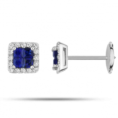 Boucles d'oreilles Saphir   diamant Or Blanc Elora - 2.6008.S1