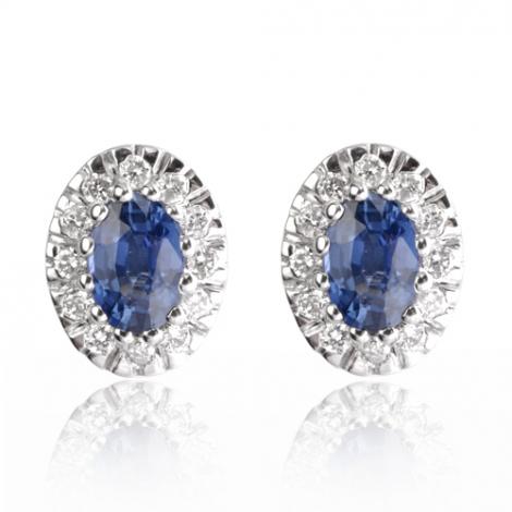 Boucles d'oreilles saphir diamant Or Blanc Kariane - BO01367