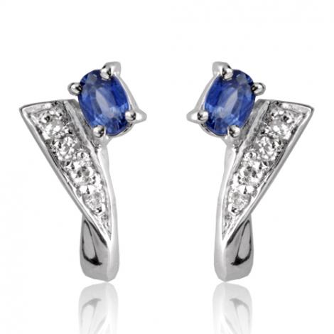 Boucles d'oreilles saphir diamant Or Blanc Meredith - BO01334