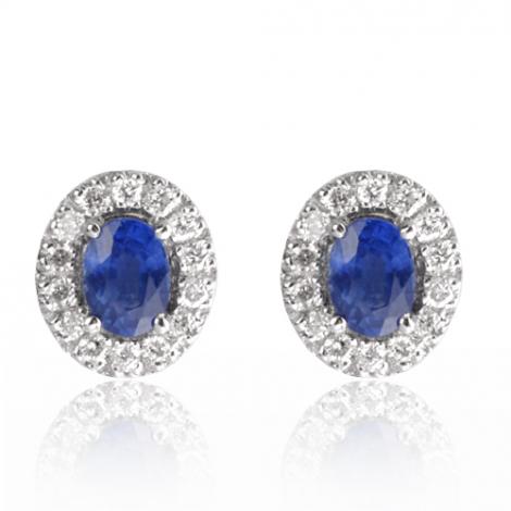 Boucles d'oreilles saphir diamant Or Blanc Narah - BO01463-S