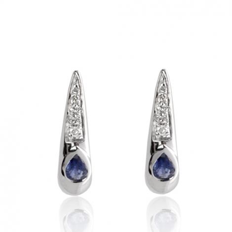 Boucles d'oreilles saphir diamant Or Blanc Océana - BO01421SA