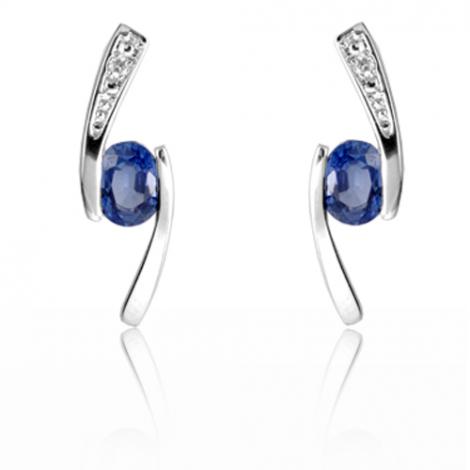 Boucles d'oreilles saphir diamant Or Blanc Paula - BO01397SA