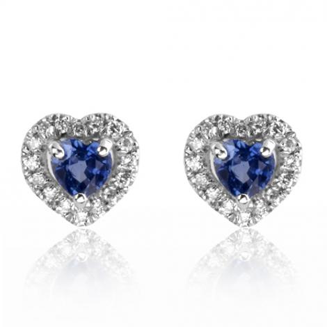 Boucles d'oreilles saphir diamant Or Blanc Salina - BO01444