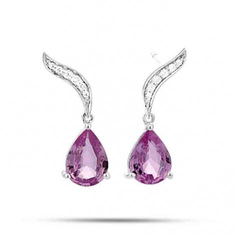 Boucles d'oreilles Saphir Rose  diamant Or Rose Tahiata - E8030FMPWAY00