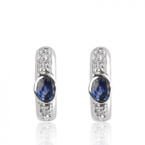 Boucles d'oreilles saphirs  diamant Or Blanc Barbara - BO01425SA