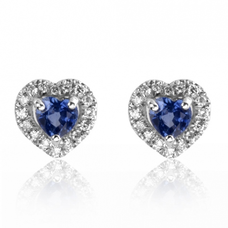 Boucles d'oreilles saphirs  diamant Or Blanc Salina - BO01444