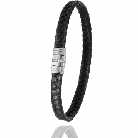 Bracelet Albanu en Poil de girafe acier et diamant gr  Lisa - 608-1LTGIAC