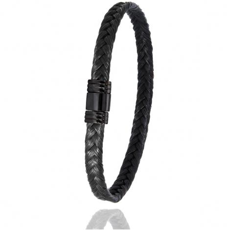 Bracelet Albanu en Poils de girafe et PVD noir gr  Yustina - 608NTGIAC