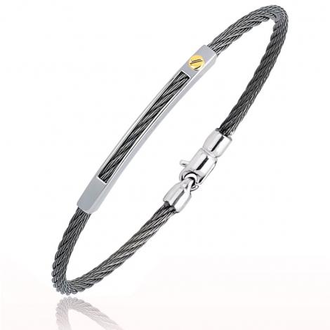 Bracelet Cable acier et or 21 cm Alanna - 6273