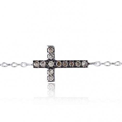 Bracelet croix diamants bruns One More 0.22 ct - Ischia -049210A3