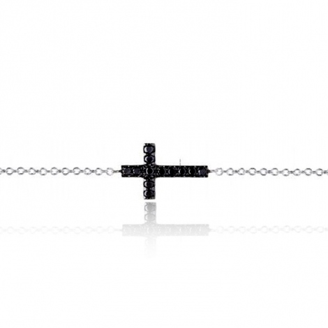 Bracelet croix diamants noirs One More 0.05 ct - Ischia -049263A2