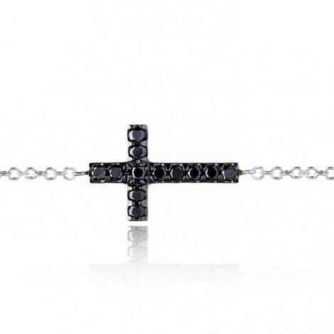 Bracelet croix diamants noirs One More 0.22 ct - Ischia -049210A2