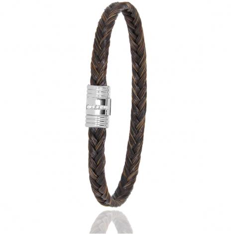 Bracelet en Crin de cheval acier et diamant g Aniata -608-1LCHMAC
