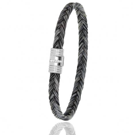 Bracelet en Crin de cheval acier et diamant g Arianna -608-1LCHGCAC