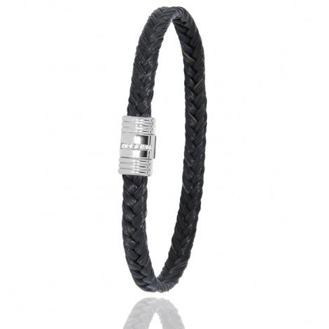 Bracelet en Crin de cheval acier et diamant g Sauvahna -608-1LCHNAC