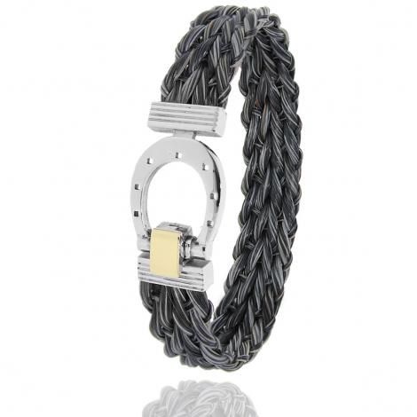 Bracelet en Crin de cheval, acier et or 0.2g Délicatesse -910CHGFORjaune