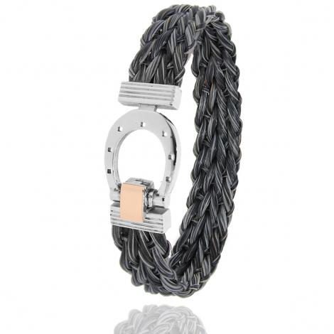 Bracelet en Crin de cheval, acier et or 0.2g Manon -910CHGFORrose