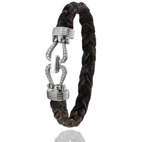 Bracelet en Crin de cheval, acier et or 0.2g Saya -731DCHMORblanc