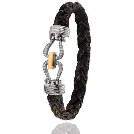 Bracelet en Crin de cheval, acier et or 0.2g Tahuata -731DCHMORrose