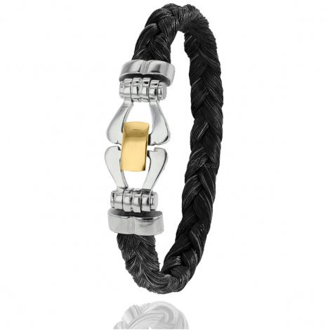 Bracelet en Crin de cheval, acier et or 0.35g Éléannor -F501PCHNORjaune